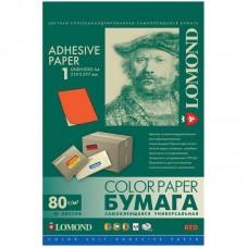 Бумага самоклеящаяся LOMOND A4, 50 л, красная, неделимая